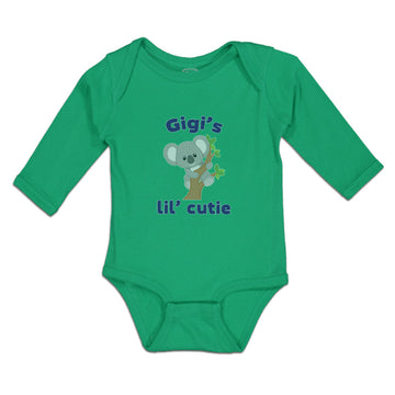 Long Sleeve Baby Bodysuit Gigi's Lil' Cutie Koala Bear Wood Branch