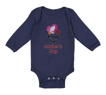Long Sleeve Bodysuit Baby Happy First Mother's Day Mommy Mom Style C Cotton