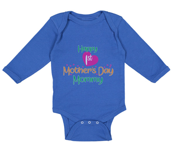 Long Sleeve Bodysuit Baby Happy First Mother's Day Mommy Mom Style A Cotton - Cute Rascals