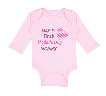 Long Sleeve Bodysuit Baby Happy First Mother's Day Mommy Mom Style B Cotton