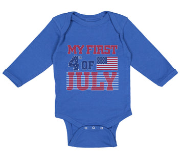 Long Sleeve Bodysuit Baby My First 4Th of July Independence Boy & Girl Clothes