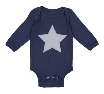 Long Sleeve Bodysuit Baby White Star 4Th of July Independence Boy & Girl Clothes