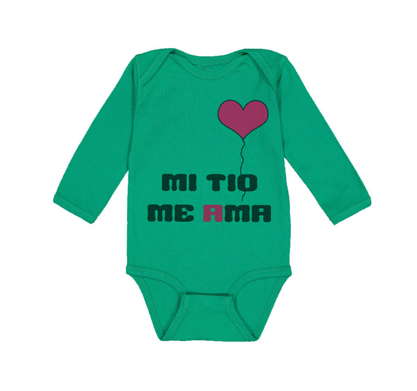 Long Sleeve Bodysuit Baby Spanish Mi Tio Me Ama Mu Uncle Loves Me B Cotton
