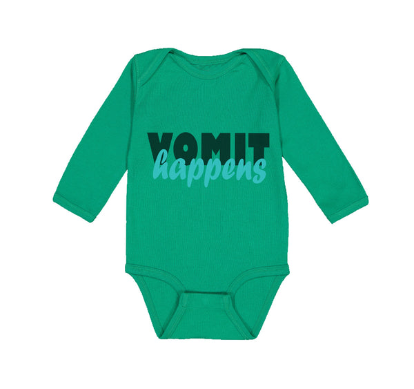 Long Sleeve Bodysuit Baby Vomit Happens Funny Humor Boy & Girl Clothes Cotton