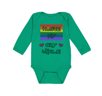 Long Sleeve Bodysuit Baby I Love My Gay Uncle with Gay Flag B Boy & Girl Clothes
