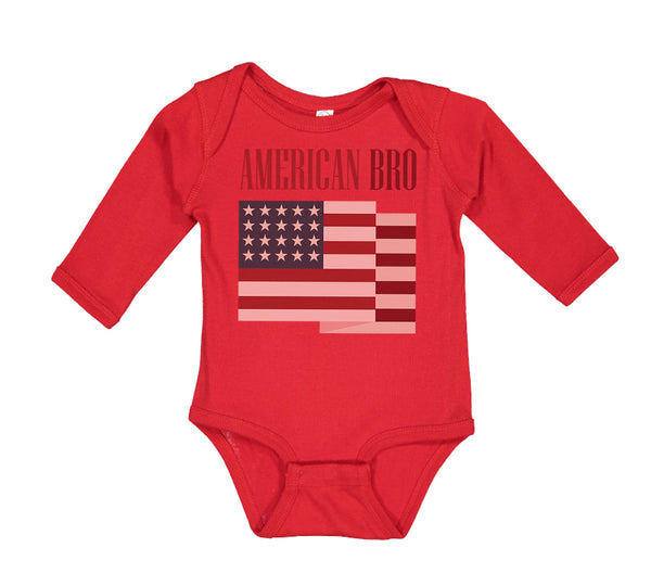 Long Sleeve Bodysuit Baby American Bro 4Th of July Independence Brother Funny - Cute Rascals