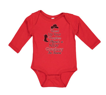 Long Sleeve Bodysuit Baby Round up Your Daughters There's A New Cowboy in Town