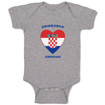 Boy & Girl Baby Bodysuit Adorable Croatian Heart Countries Funny