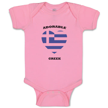 Boy & Girl Baby Bodysuit Adorable Greek Heart Countries Funny Clothes