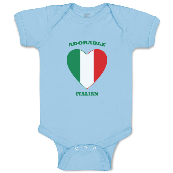 Cotton Boy & Girl Baby Bodysuit Adorable Italian Heart Countries Funny