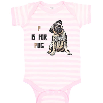 Cotton Boy & Girl Baby Bodysuit Pug with P Is for Dog Lover Pet Funny