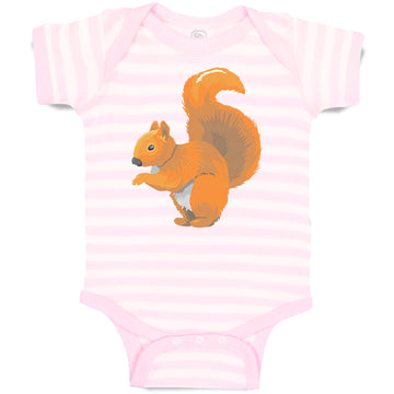 Boy & Girl Baby Bodysuit Squirrel Funny Humor B Striped Clothes