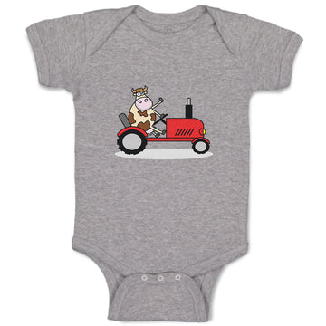 Cotton Boy & Girl Baby Bodysuit Cow in Tractor Farm Funny Clothes