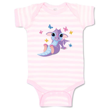 Cotton Baby Girl Bodysuit Dragon and Butterflies Cute Funny