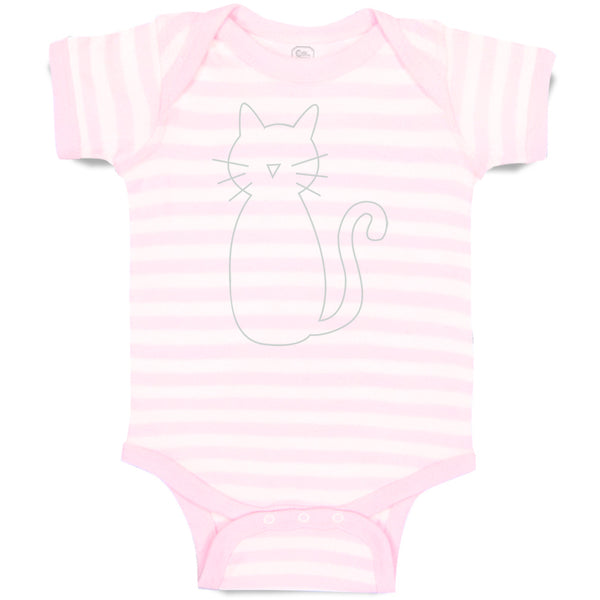 Cotton Boy & Girl Baby Bodysuit Cat Mom Dad White Sits Funny Clothes