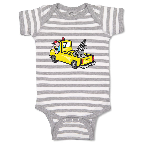 Cotton Baby Boy Bodysuit Man in Towing Car Funny Striped Clothes
