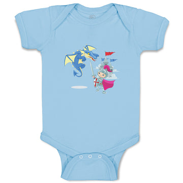 Boy & Girl Baby Bodysuit Knight Fighting Dragon Holidays Characters