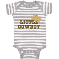 Boy & Girl Baby Bodysuit Brown Little Cowboy Hat Funny Humor