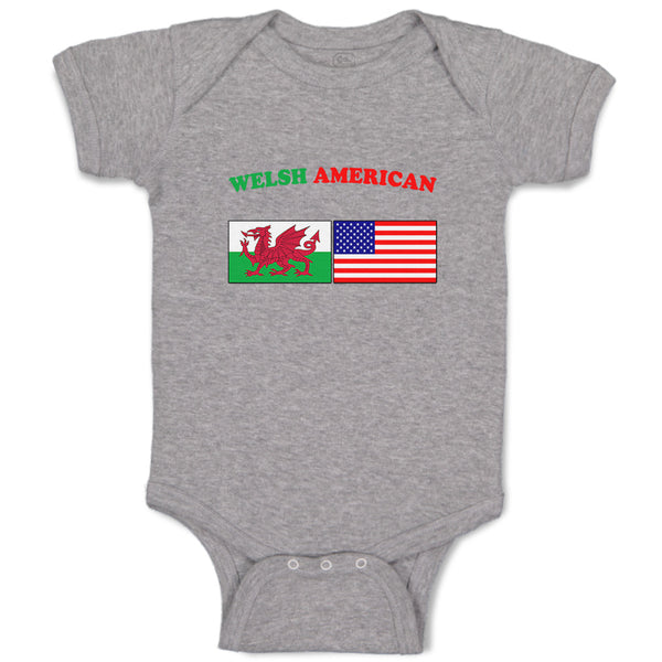 Cotton Boy & Girl Baby Bodysuit Welsh American Countries Funny Clothes
