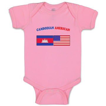 Boy & Girl Baby Bodysuit Cambodian American Countries Funny Clothes