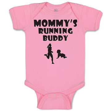 Cotton Boy & Girl Baby Bodysuit Mommy's Running Buddy Funny Clothes