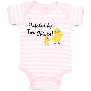 Boy & Girl Baby Bodysuit Hatched by 2 Chicks Gay Lgbtq Style C Funny