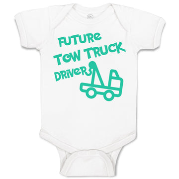 Cotton Boy & Girl Baby Bodysuit Future Tow Truck Driver Funny Clothes