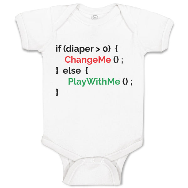Boy & Girl Baby Bodysuit Diaper 0 Change Me Else Geek Funny Nerd