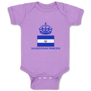 Baby Girl Bodysuit Salvadoran Princess Crown Countries Funny Clothes