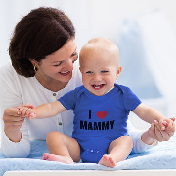 Boy & Girl Baby Bodysuit I Love Heart Mammy Mom Mothers Day Funny
