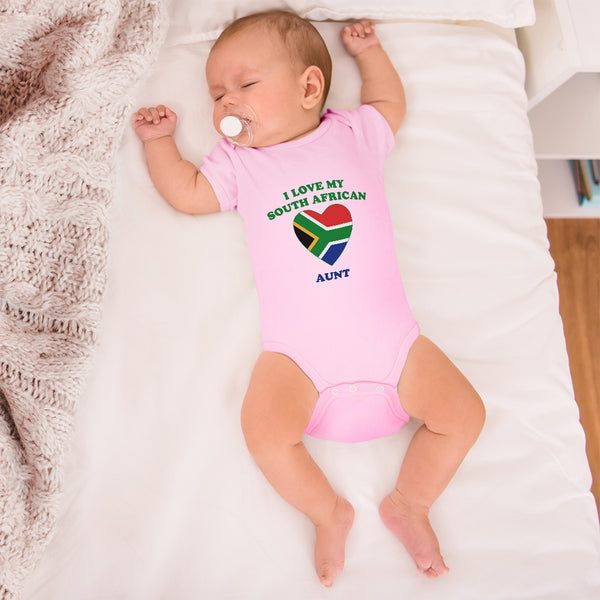 Boy & Girl Baby Bodysuit I Love My South African Aunt Countries Funny