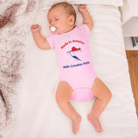 Boy & Girl Baby Bodysuit Made in America with Croatian Parts Funny