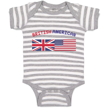 Cotton Boy & Girl Baby Bodysuit British American Funny Striped Clothes