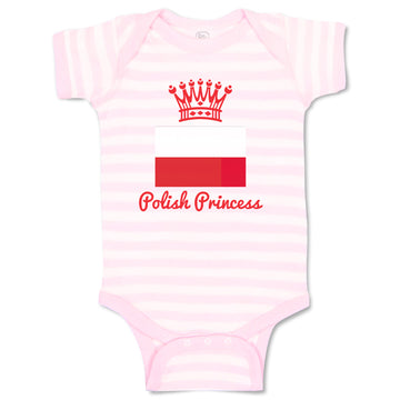 Cotton Baby Girl Bodysuit Polish Princess Crown Countries Funny