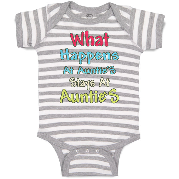Baby Clothes What Happens at Auntie S Stays at Auntie Aunt Baby Bodysuits Cotton