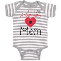 Boy & Girl Baby Bodysuit I Love My Albanian Mom Funny Striped Clothes