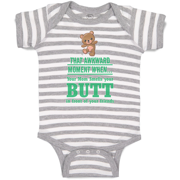 Boy & Girl Baby Bodysuit Awkward Moment Mom Sniffs Butt Funny Humor B