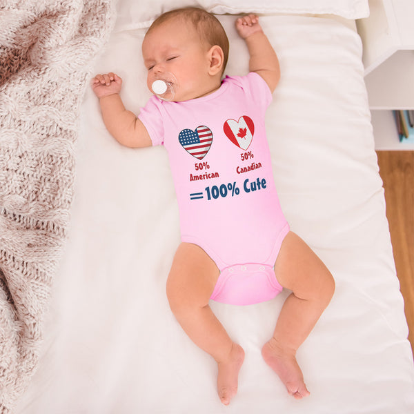 Boy & Girl Baby Bodysuit 50% American + Canadian = 100% Cute Funny