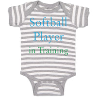 Cotton Boy & Girl Baby Bodysuit Softball Player in Training Funny