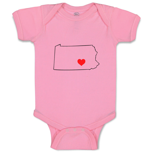 Boy & Girl Baby Bodysuit Pennsylvania Heart Love States Funny Clothes