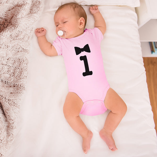 Cotton Boy & Girl Baby Bodysuit Numeric 1 with Silhouette Bowtie Funny