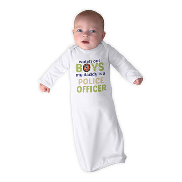 Baby Sleeper Gowns Watch out Boys Daddy Is Police Officer Dad Father's Day B