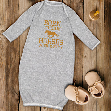 Baby Sleeper Gowns Born to Ride Horses with Mommy Baby Nightgowns Cotton