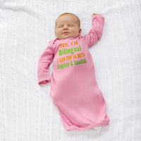 Baby Sleeper Gowns Yes I'M Bilingual I Can Cry in English and Spanish Cotton - Cute Rascals