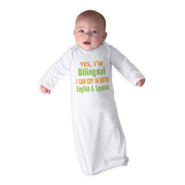 Baby Sleeper Gowns Yes I'M Bilingual I Can Cry in English and Spanish Cotton