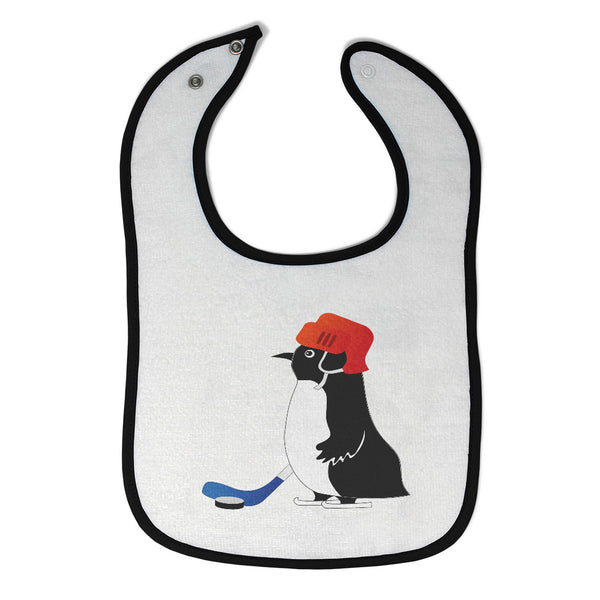 Cotton Toddler & Baby Bibs Penguin Playing Hockey Cartoon Character