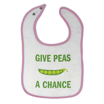 Cloth Bibs for Babies Give Peas A Chance Funny Humor Baby Accessories Cotton