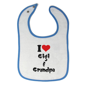 Cotton Toddler & Baby Bibs I Love My Gigi and Grandpa Grandparents