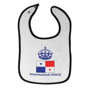 Baby Boy Bibs Panamanian Prince Crown Countries Burp Cloths Contrast Trim Cotton