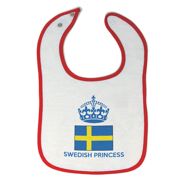 Baby Girl Bibs Swedish Princess Crown Countries Burp Cloths Contrast Trim Cotton